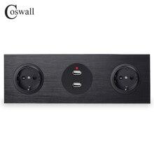Coswall 블랙 알루미늄 패널 16A 더블 EU 표준 벽 전원 소켓 접지 + 듀얼 USB 충전 포트 2.4A 출력 R12 시리즈