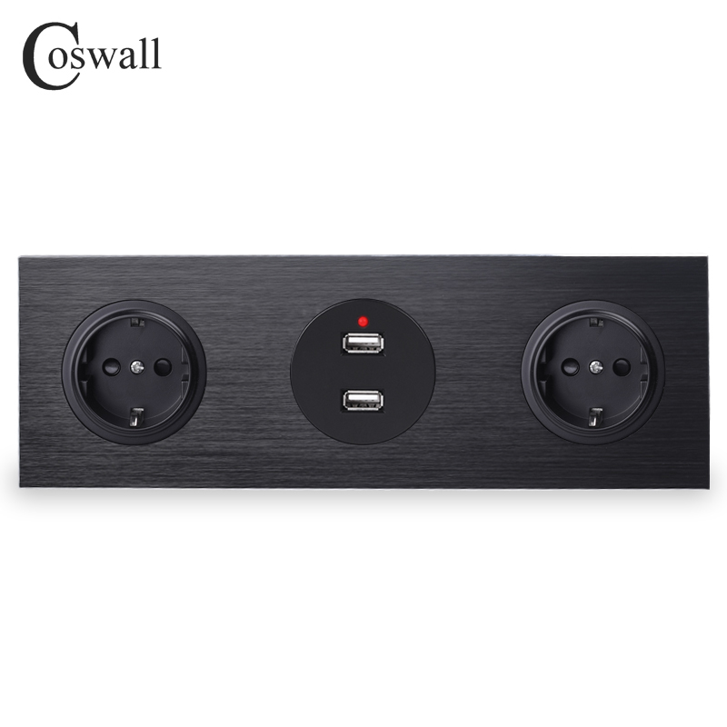 Coswall Black Aluminum Panel 16A Double EU Standard Wall Power Socket Grounded + Dual USB Charging Port 2.4A Output R12 Series