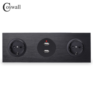Image 1 - Coswall Black Aluminum Panel 16A Double EU Standard Wall Power Socket Grounded + Dual USB Charging Port 2.4A Output R12 Series