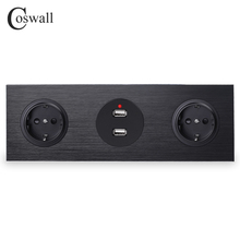 Coswall Nhôm Đen Bảng 16A Đôi Tiêu Chuẩn EU Tường Ổ Cắm Điện Nối Đất + Cổng Sạc USB Đôi 2.4A Đầu Ra R12 series