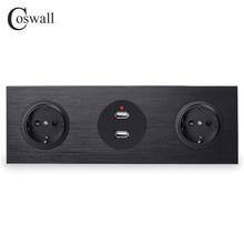 Coswall czarny Panel aluminiowy 16A podwójne Standard ue ścienne gniazdo zasilające uziemione + podwójny Port ładowania USB 2.4A wyjście R12 serii