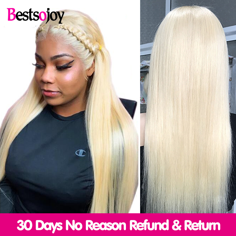 Bestsojoy 613 Blonde dentelle avant perruque brésilienne Remy perruques de cheveux humains pour les femmes noires droite 13x4 perruque de dentelle transparente