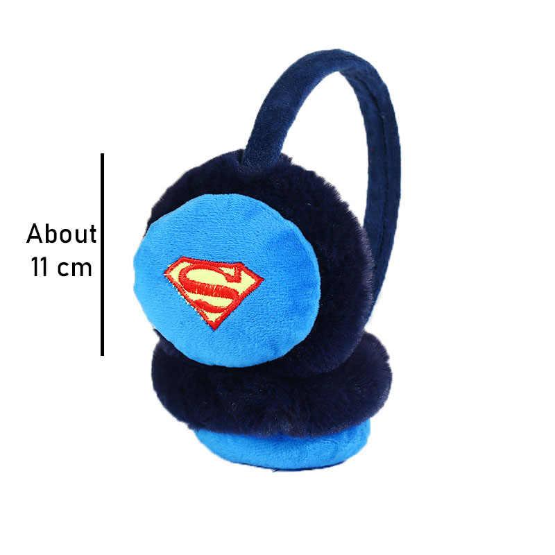Модные детские зимние теплые плюшевые наушники с милым принтом супергероя из мультфильма; милые детские плотные повязки на голову с ушками для мальчиков и девочек