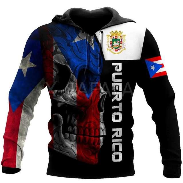 PUERTO RICO SKULL 3D HOODIE