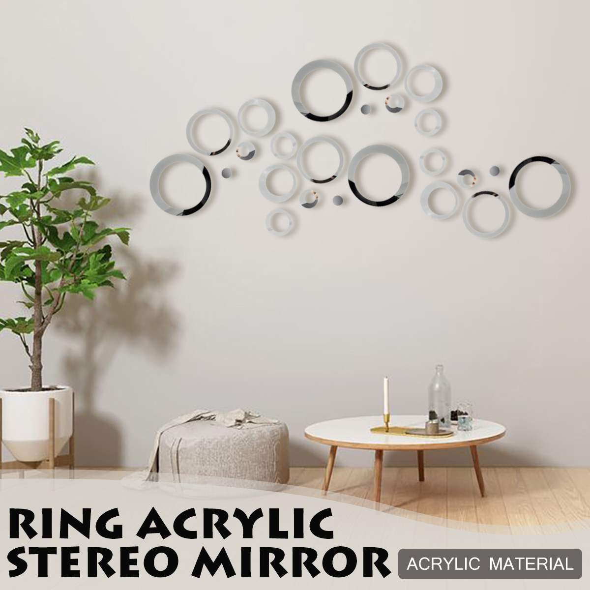 24pcs Set 3d Diy Circles Wall Sticker Home Decoration Mirror Wall Stickers For Tv Background Home Decor Acrylic Decor Wall Art Decorative Mirrors Aliexpress