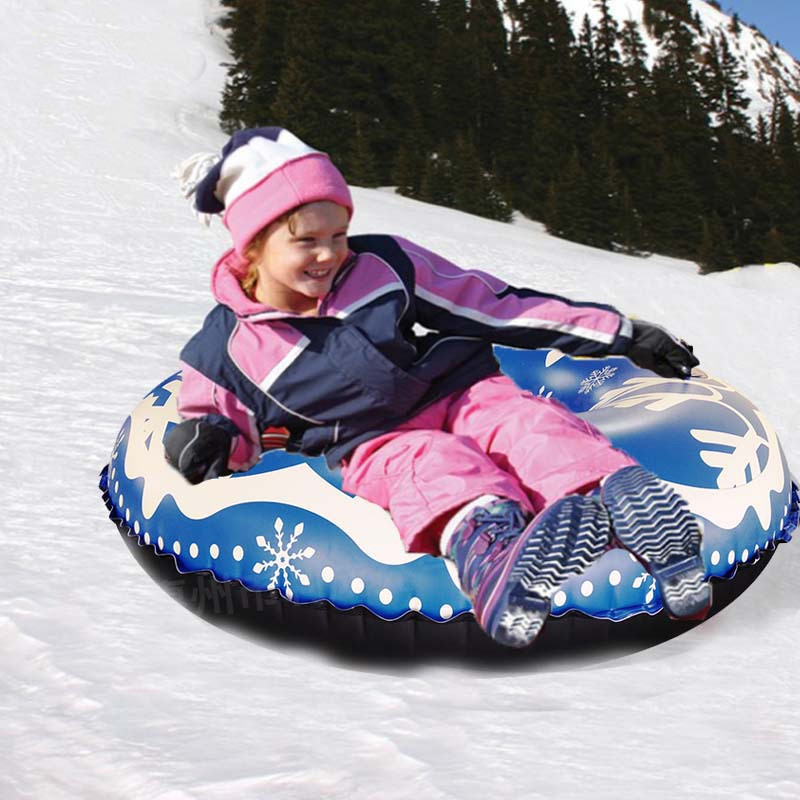 Snow Tube For Winter Fun Inflatable 47 Inch Heavy Duty Snow Sleds For Kids And Adults Sturdy Sledding Tubes Easy To Grip