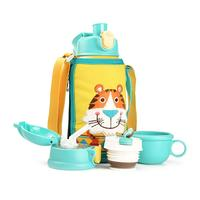 630ML Children's Multifunctional Insulation Cup Multifunction Baby Tiger Pattern Stainless Steel Insulation Cups With Straw