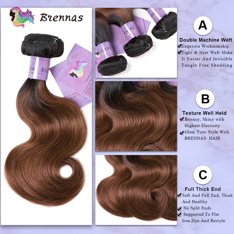Image 3 - Brennas Body Wave Human Hair Bundles With Closure Ombre 1b30  hair weave with 4*4 lace closure Brazilian non Remy Hair low Ratio3/4 Bundles with Closure   -