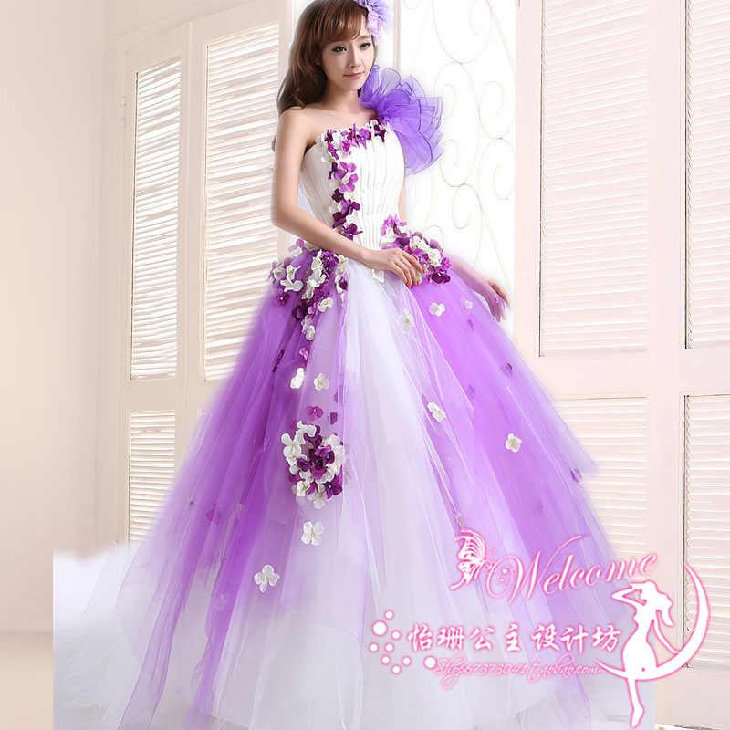 Roxo Applique Vestido Quinceanera Doce flor Plissado de Um Ombro vestido de Baile Vestidos Quinceanera Inchados quinceanera ruha