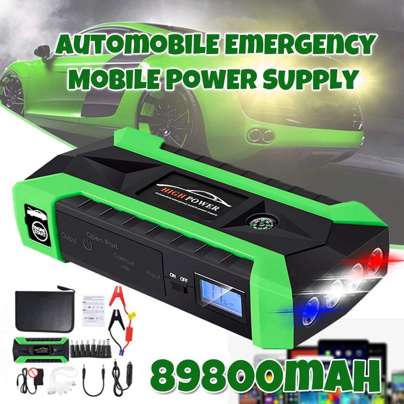Car Jump Starter Power Bank 600A 12V LCD Display Portable Battery Booster Charger Starting Device With LED Lights