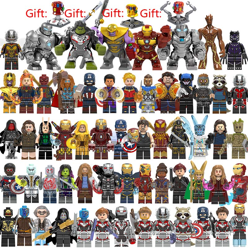 60 Pcs/lot Super Héros Blocs De Construction lEGOED Marvel Avengers 4 Capitaine Guêpe Spiderman Iron Man chiffres Hulk Thanos Finale Jouets