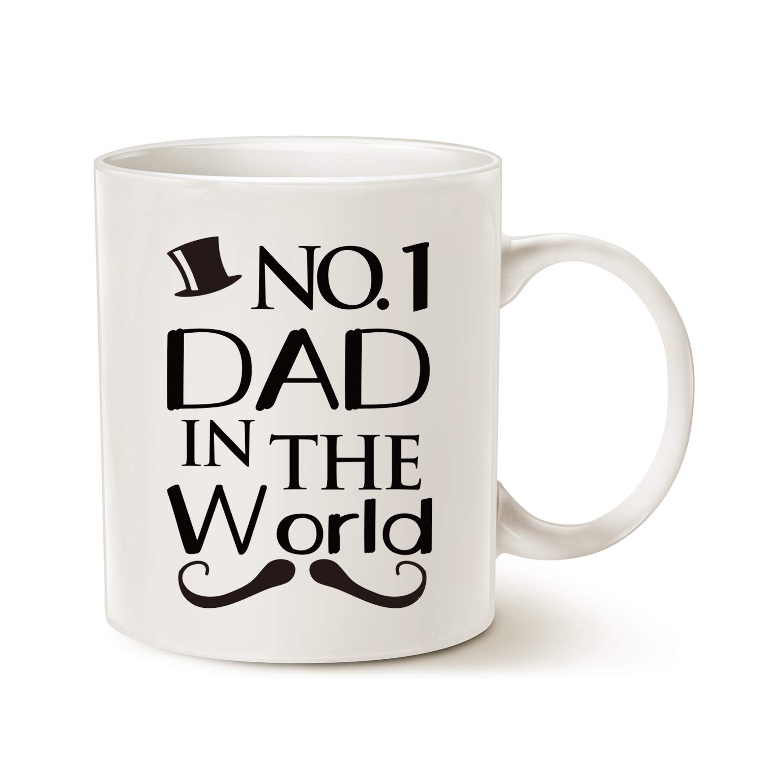 Funny Fathers Day Dad Coffee Mug Christmas, NO.1 Dad in the World Best Father Birthday Gifts White, 11 Oz image