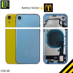 For Iphone XR Full Back Housing Rear Battery Cover Door Middle Frame Chassis + Glass with Flex Cable Assembly Replacement Parts