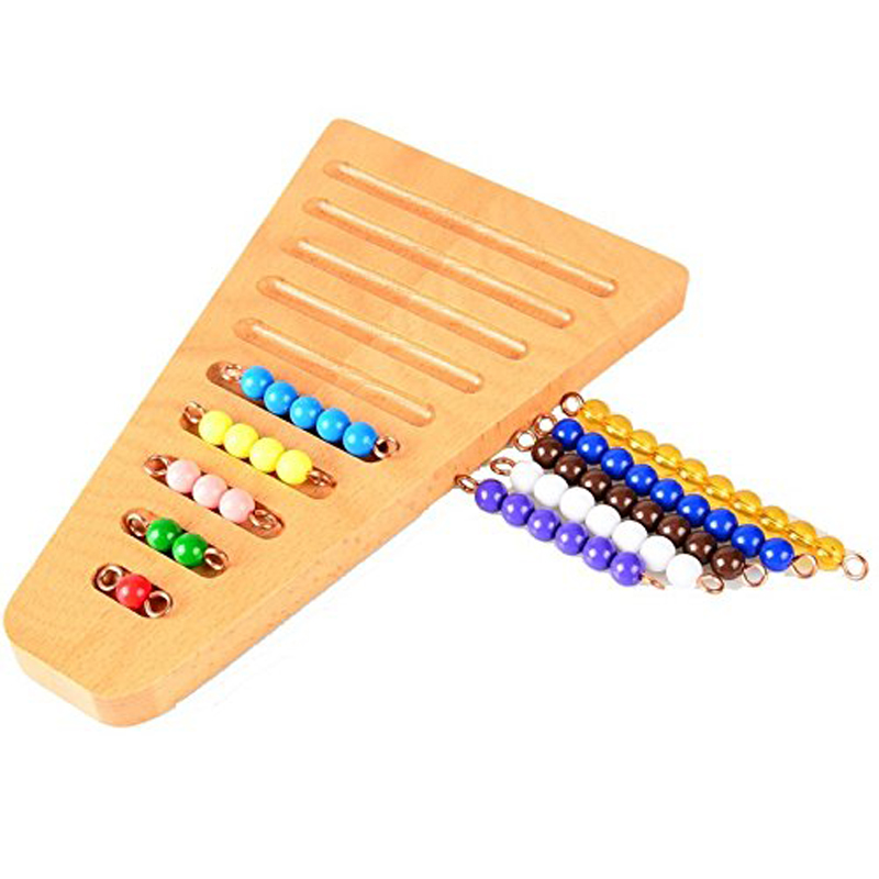 Подлинный шарик лестницы Монтессори математические манипуляторы детский сад цветные бусины лестницы и организации стойки