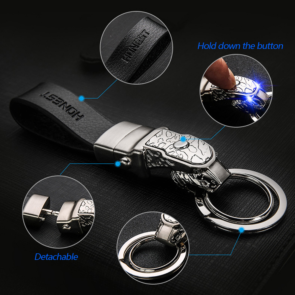 High-end Auto Leopard Leather Keyring Car LED Light Men Keychain for Luxgen MINI Cooper Mitsubishi Pontiac Proton Peugeot SAAB image