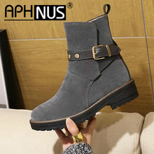 APHNUS Womens Boots Riding Belt Buckle Short Ankle booties F