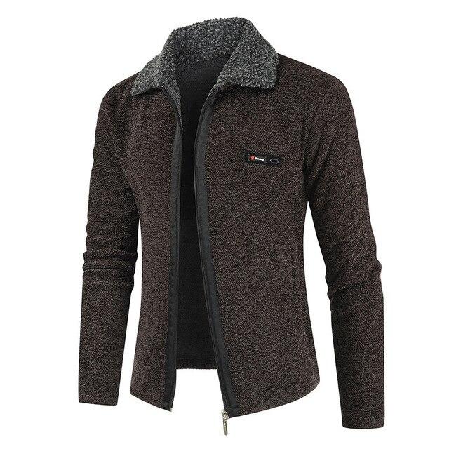 NEGIZBER 2019 חורף Mens מעיל מעילי מוצק Slim Fit עבה פרווה צמר מעילי גברים אופנה חם גברים של קשמיר מעיל Streetwear