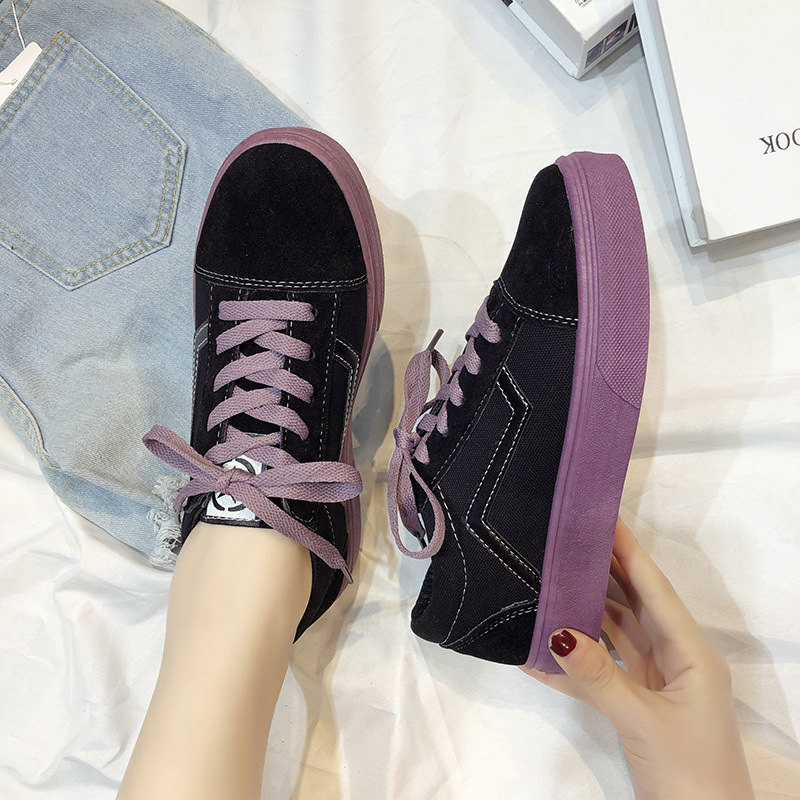 Image 2 - SWYIVY Canvas Shoes Women Sneakers Lace Up Flat Woman Casual Shoes Spring 2020 New Striped Sneakers For Women Shoe Ladies FlatWomens Vulcanize Shoes   -