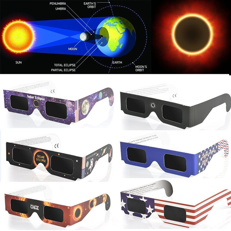 Random Color Eclipse Glasses Framed Solar Total Eclipse Glasses Fashion Novelty Children Toys Eclipse Glasses