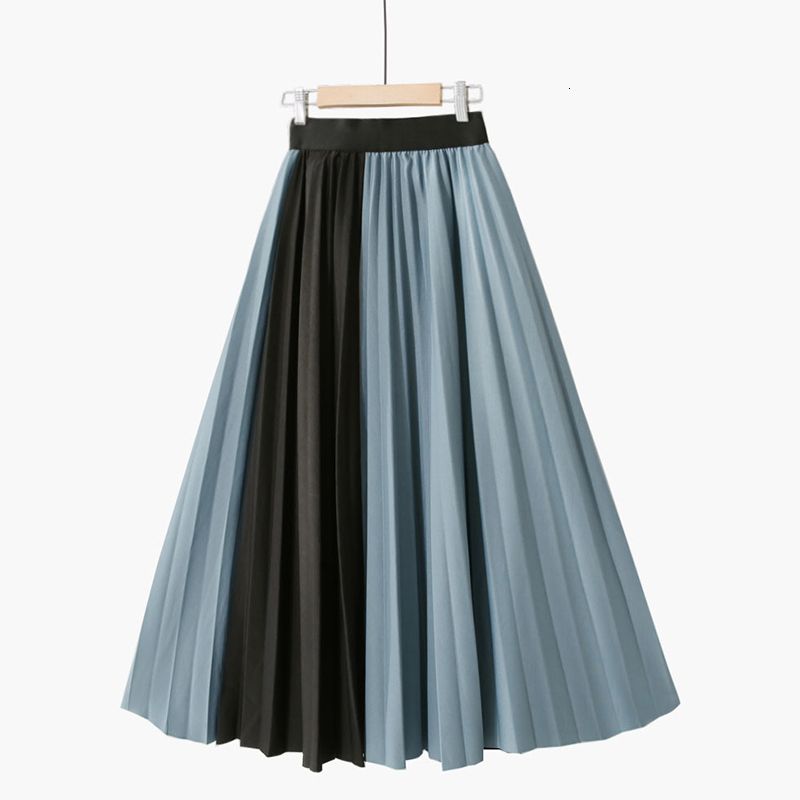 PEONFLY Patchwork Contrast Pleated Long <font><b>Skirts</b></font> Women Fashion 2019 <font><b>Fall</b></font> Winter Korean A Line High Waist Maxi <font><b>Skirt</b></font> Female Ladies image