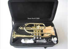Hot Sell Brand Instrument Bach Golden Trigger Short Trumpet Bb with Case Free Shipping