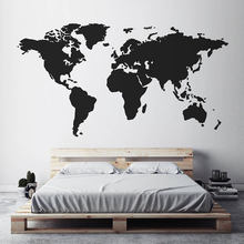 Modern Home Decor World Map Wall Sticker Vinyl Interior Design Bedroom Living Room Map Of The World Wall Decal Removable S144
