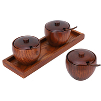Retro Spice Jar Seasoning Pot Sugar Bowl with Lid Wood Box Herb Spice Tools Kitchen Tool Sets For Spices