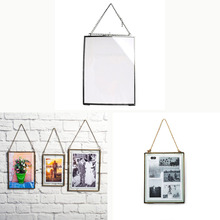 Antique Black/Bronze Glass Picture Photo Frame Hanging Freestanding Portrait