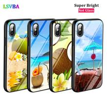 Black Cover Beach Coconut Fashion for iPhone X XR XS Max for iPhone 8 7 6 6S Plus 5S 5 SE Super Bright Glossy Phone Case black cover lovely cat for iphone x xr xs max for iphone 8 7 6 6s plus 5s 5 se super bright glossy phone case