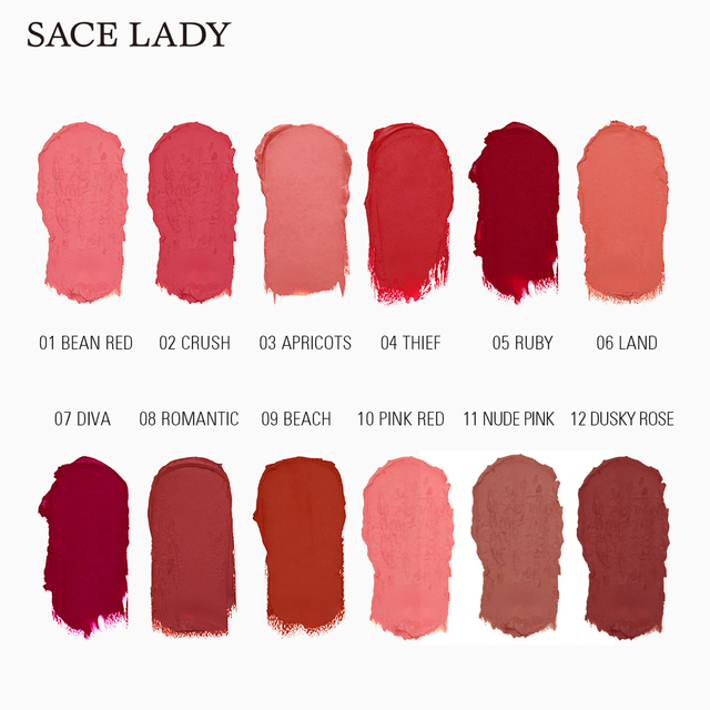 SACE LADY 12 Colors Lips Makeup Waterproof Silky Matte Lipstick Long Lasting Moisture Lipstick Matte Red Lip stick Cosmetic 3