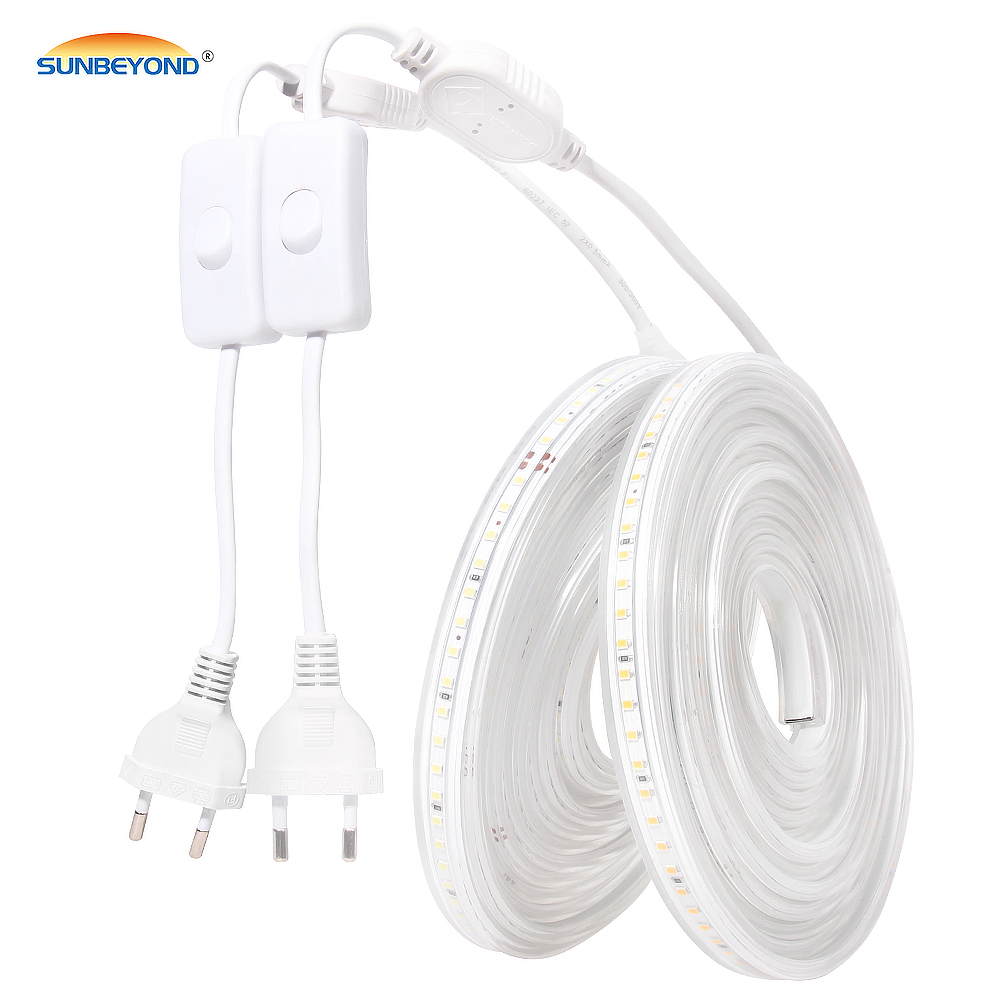 LED Strip Light 220V 2835 Waterproof Led Strip High Brightness 120LEDs/m Flexible Kitchen Outdoor Garden LED Light With Switch
