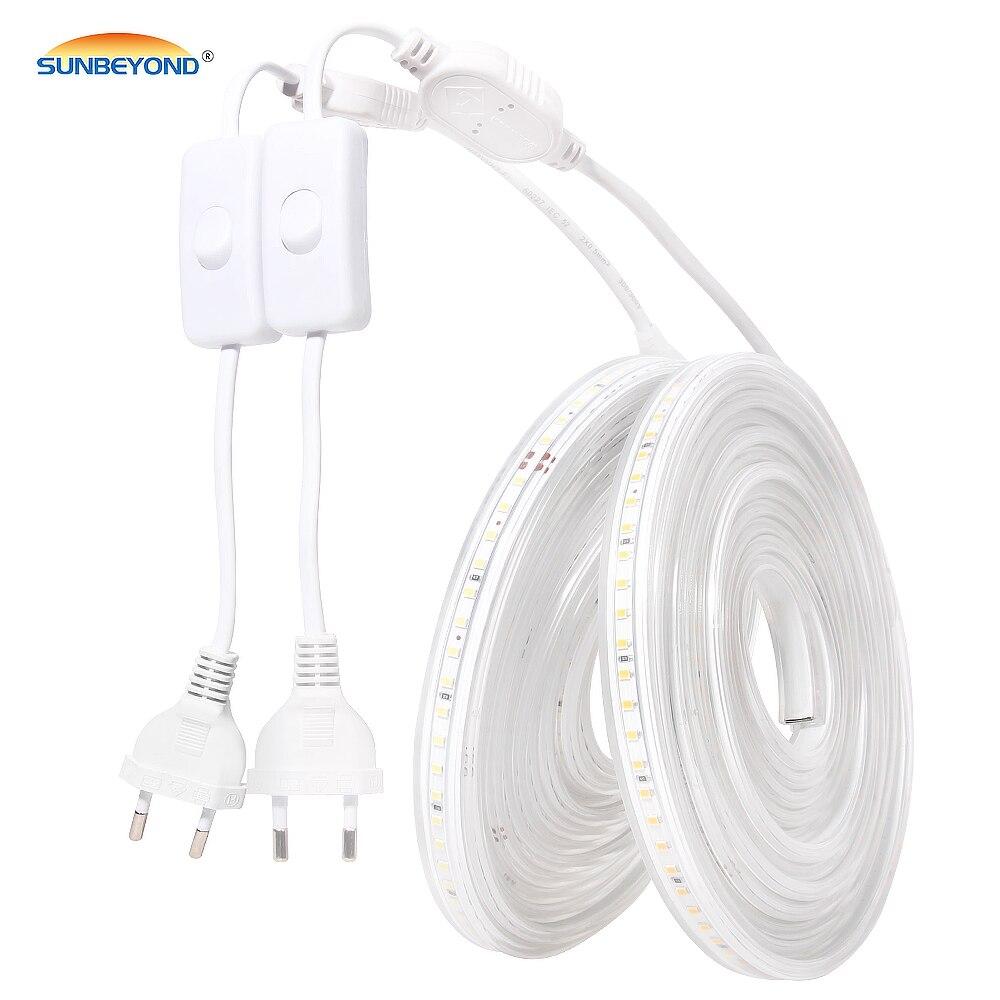 LED Strip Light 220V 2835 Waterproof Led Strip High Brightness 120LEDs/m Flexible Kitchen Outdoor Garden LED Light With Switch