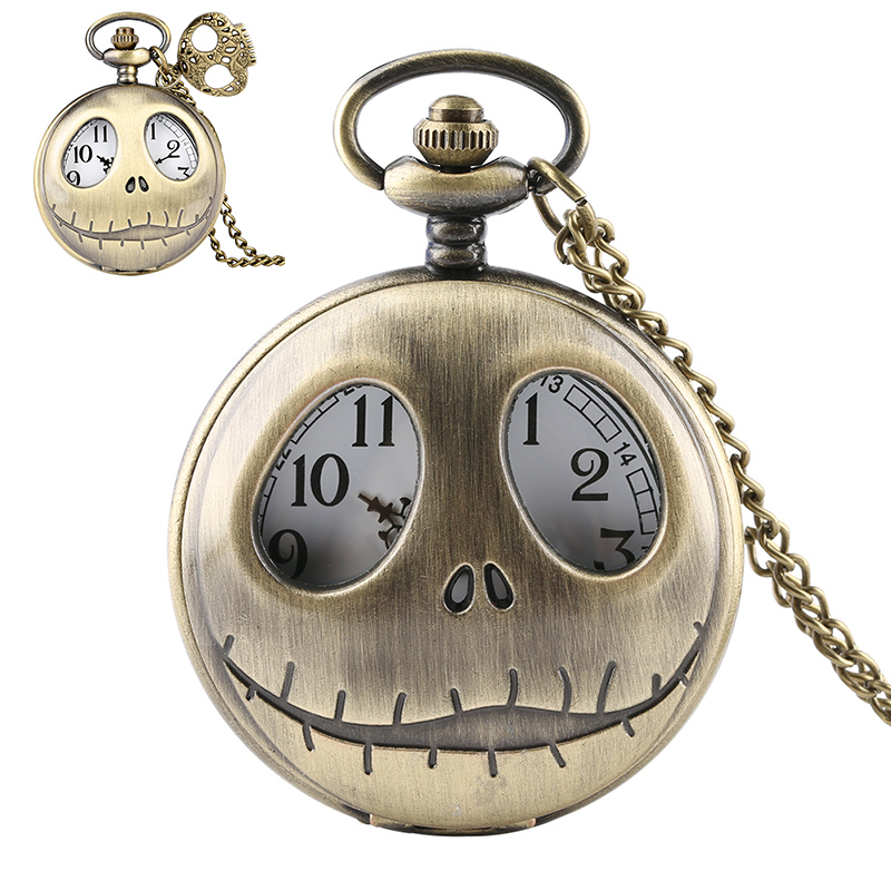 The Nightmare Before Christmas Pocket Watch Retro Tim Burton Quartz Pendant Big Eyes Frog  Jack Skellington Necklace Skull Watch