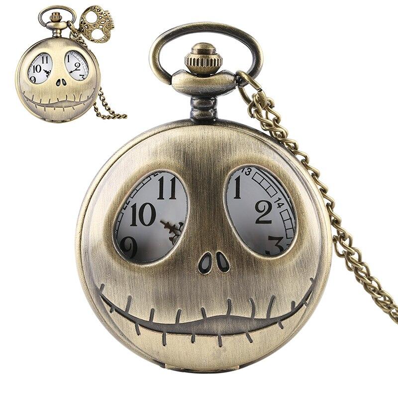 The Nightmare Before Christmas Pocket Watch Retro Tim Burton Quartz Pendant Big Eyes Frog  Jack Skellington Necklace Skull Watch