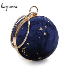 Faux Suede Women Clutch Bags Circular Shaped Lady Day Clutches Mini Handbags Starry Sky Pattern Evening Bag ZD1137