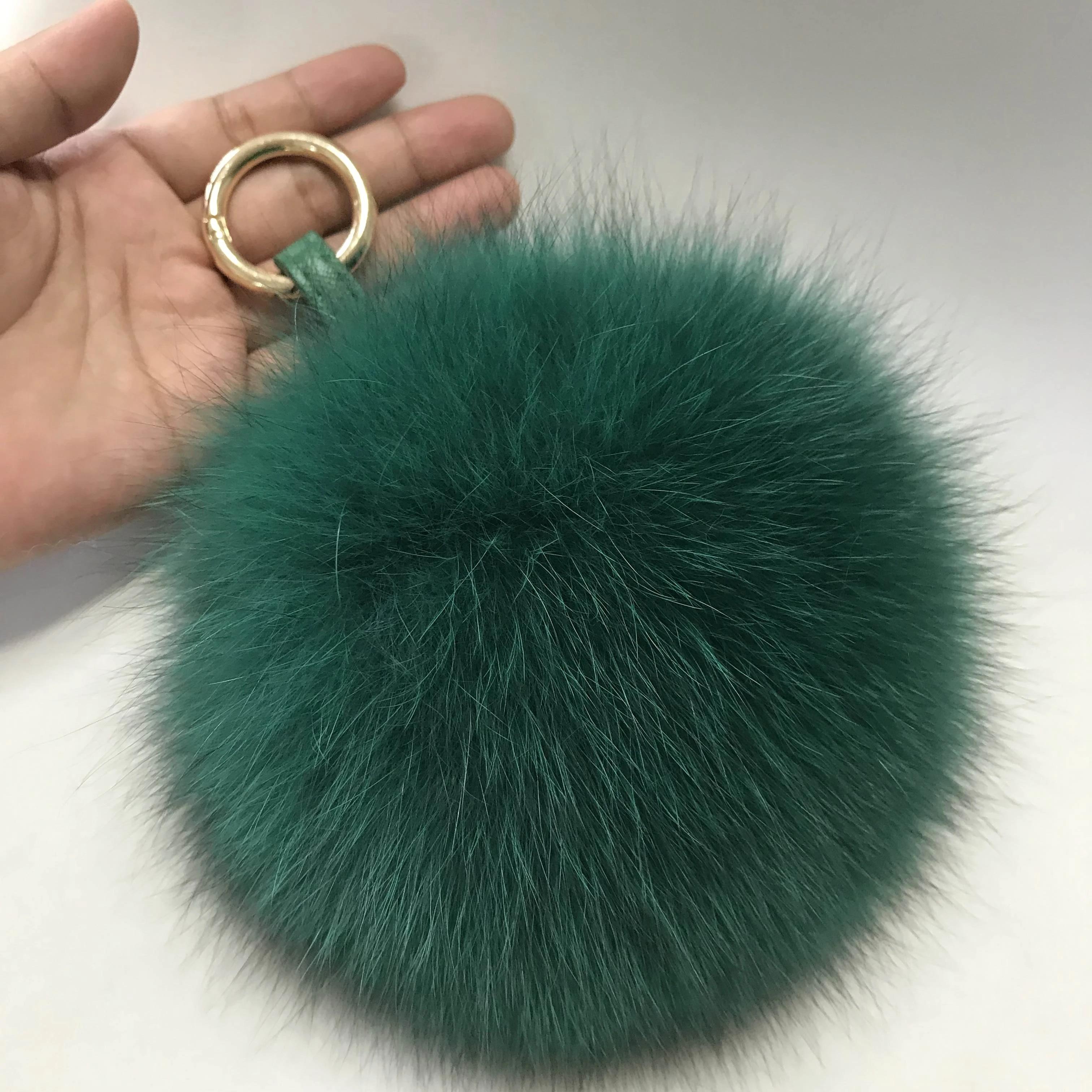 "15cm 6/"" Tricolor White Camel Green Real Fox Fur Ball Pom Pom Bag Charm Keychain"
