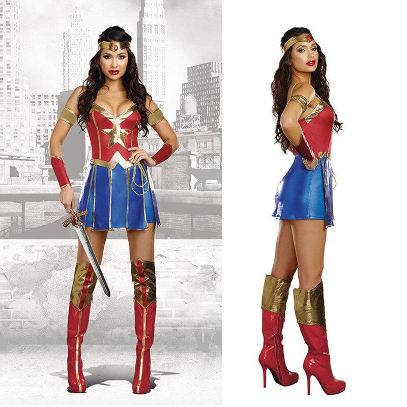 M-XXL dia das bruxas amanhecer da justiça super-herói mulher maravilha traje cosplay super menina fantasia vestido