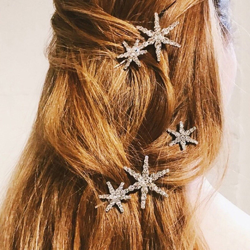 Women Wedding Hair Accessories Star Hairpin Side Folder  Jewelry Hair Clips