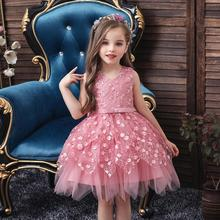 New pattern dress girl princess kids Flower Sleeveless Birthday party girls summer tutu
