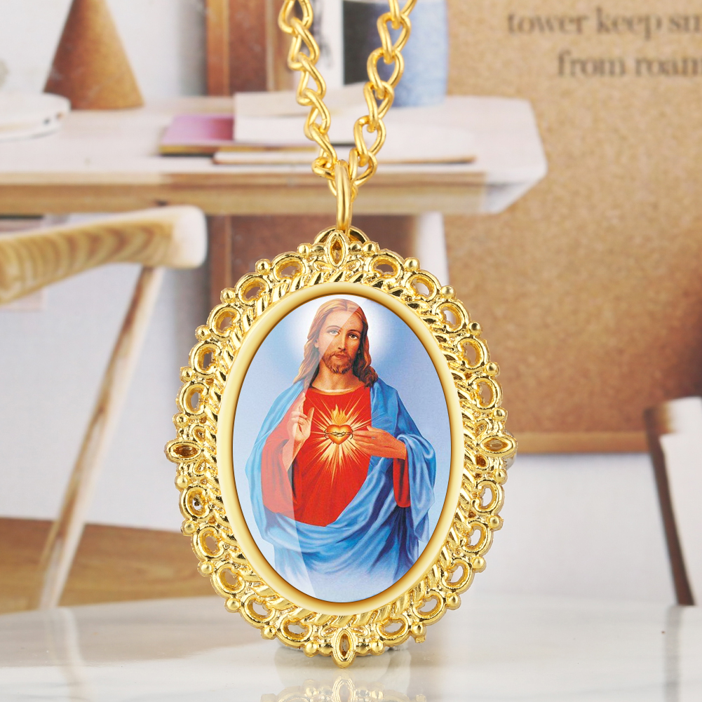 Delicate Madonna/Jesus Pattern Quartz Fob&Pocket Watch Luxury Gold Necklace Chain Pendant Clock New Arrival 2019 Dropshipping