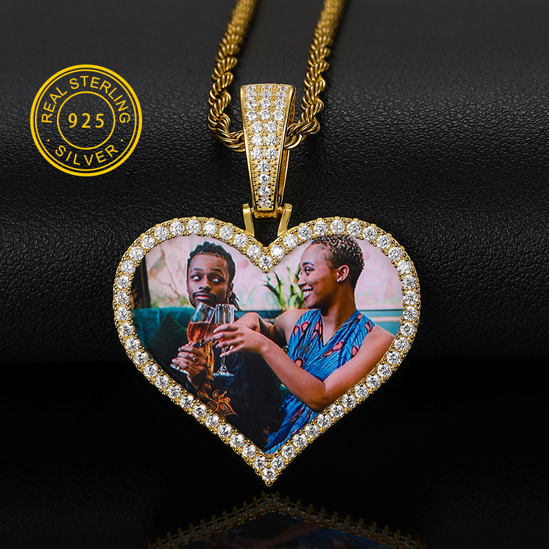 Custom Made Photo Heart Medallions Necklace & Pendant 925 Sterling Silver Jewelry For Men's Women Hip Hop Jewelry