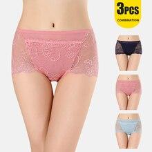 3pcs Sexy High Waist Lace Panties Women Underwear Large Size Briefs Transparent For Girls
