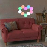 Lámpara LED de pared Hexagonal Quantum, luz nocturna colorida creativa, sensible al tacto, Modular