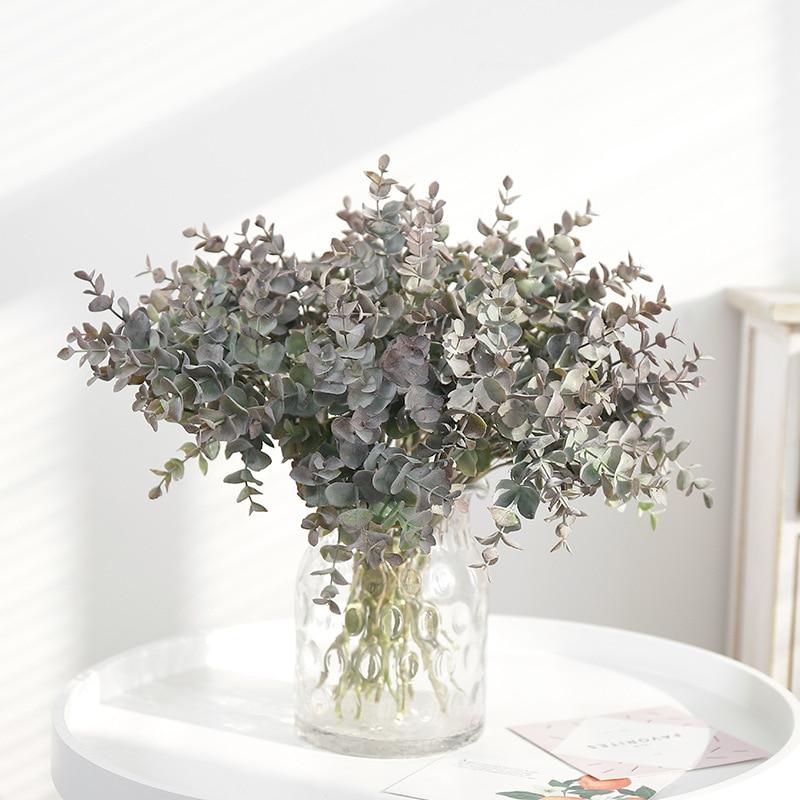 37cm Gefälschte Eukalyptus Blätter Künstliche Blume Kunststoff Baum Zweig Falsche Anlage Bouquet Blume Arrangieren Home Indoor Decor