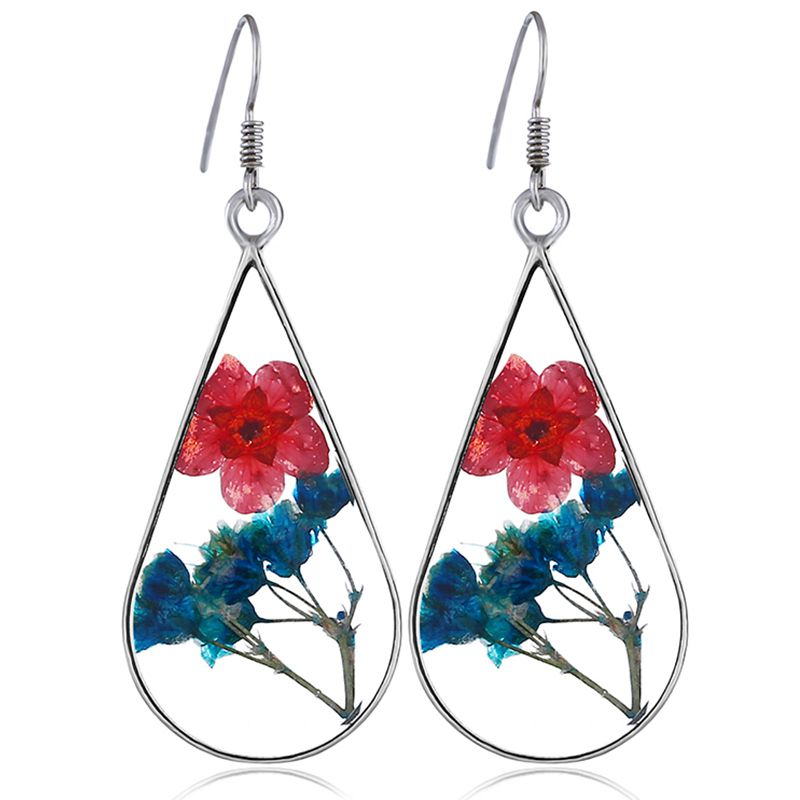 Clip on Earrings Pressed Flower Multi-color Natural Dried Pressed Real Flowers Teardrop Girls Earrings