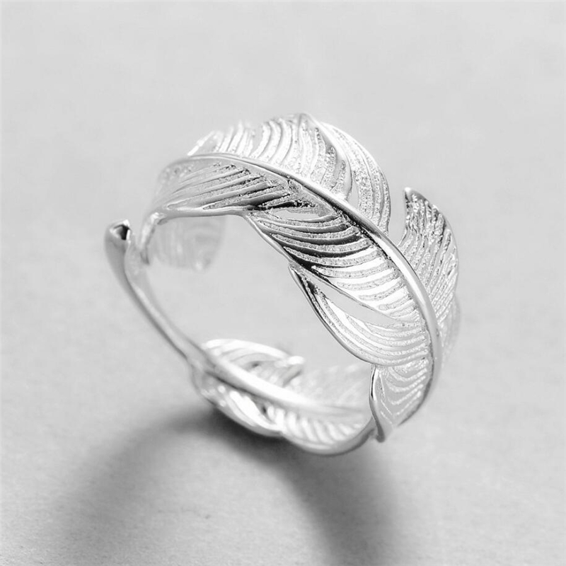 Sole Memory Open Feather Adjustable Shiny Cute 925 Sterling Silver Female Resizable Opening Rings SRI545