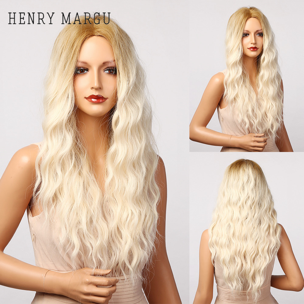HENRY MARGU Cosplay Brown Platinum Blonde Ombre Wigs Long Curly Synthetic Wig for Women Afro Middle Part High Temperature Hair