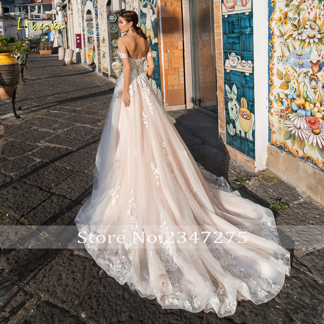 Loverxu Sexy Backless Boat Neck Lace A Line Wedding Dress 2021 Luxury Appliques Off The Shoulder Court Train Vintage Bridal Gown 2