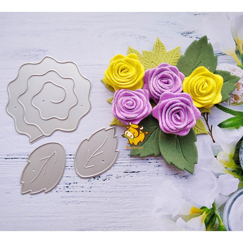 Rose Flower Leaf Metal Cutting Dies Stencil Template For DIY Scrapbooking Embossing Paper Cards Album Making Craft Dies Cut New