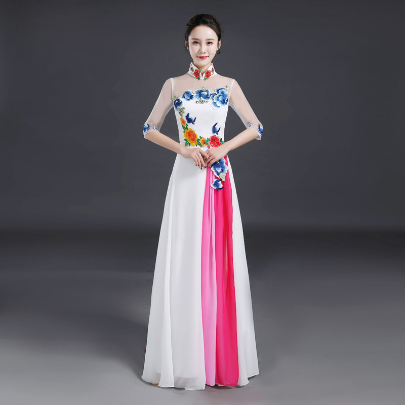 2020 Top Fashion Vestido De Noiva 2020 New Adult Chorus Performance Dress Long For Middle-aged And Elderly Host Evening Style